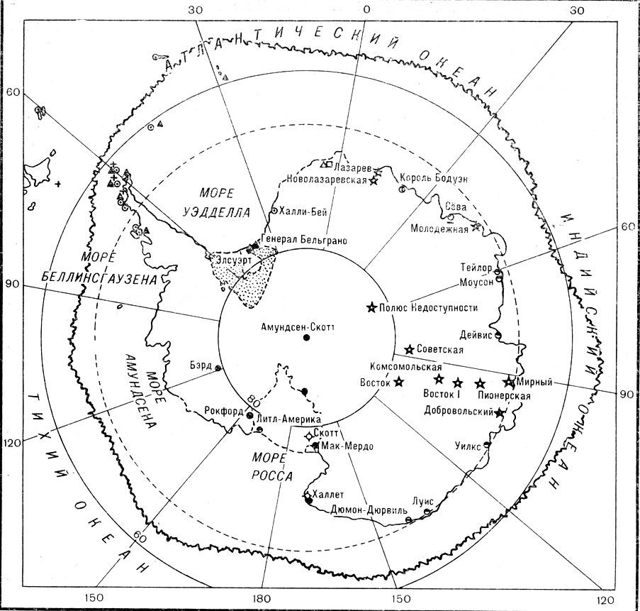 Карта Антарктиды с