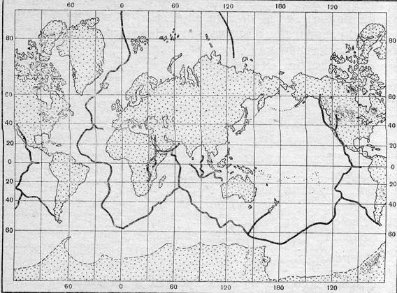 Схема рифтовых долин - разломов земной коры, рассекающих подводные горные хребты.  В зоне разломов - очаги...