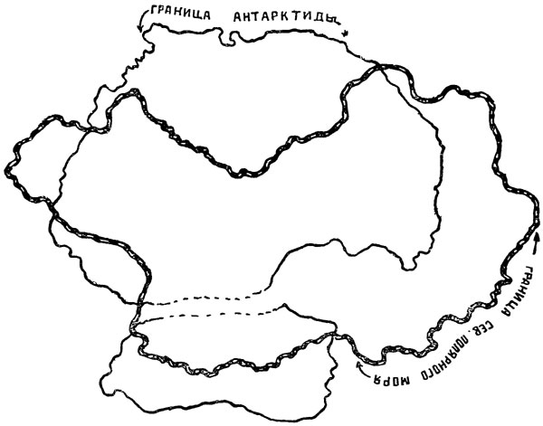 Рис. 54. Сравнительная величина Сев. Полярного моря и Антарктиды