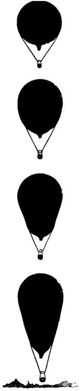 Рис. 71. Постепенное изменение формы оболочки при поднятии стратостата