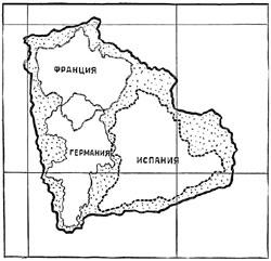 Рис. 40. Сравнительная величина поверхностей Франции, Германии, Испании (границы показаны пунктирными линиями) и Боливии (граница показана жирной линией)