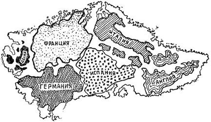 Рис. 55. Сравнительная величина Гренландии и нескольких государств Европы