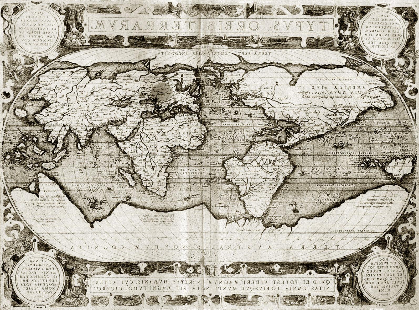 Карта мира Авраама Ортелия 1587 г Из Theatrum Orbis, 1590 г Опубликована  отдельным оттиском в 1587 г Wroth, L С. The Earty Cartography of the  Pacific the ...